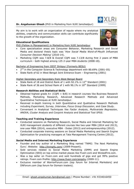 Cv Sandeep Kumar Shivhare Iim Rohtak Consulting General Managem