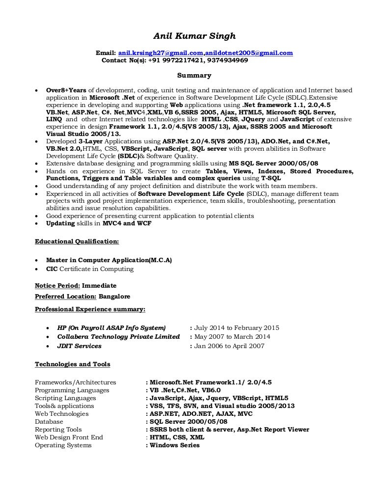 Tester Resume   Resume Format Download Pdf