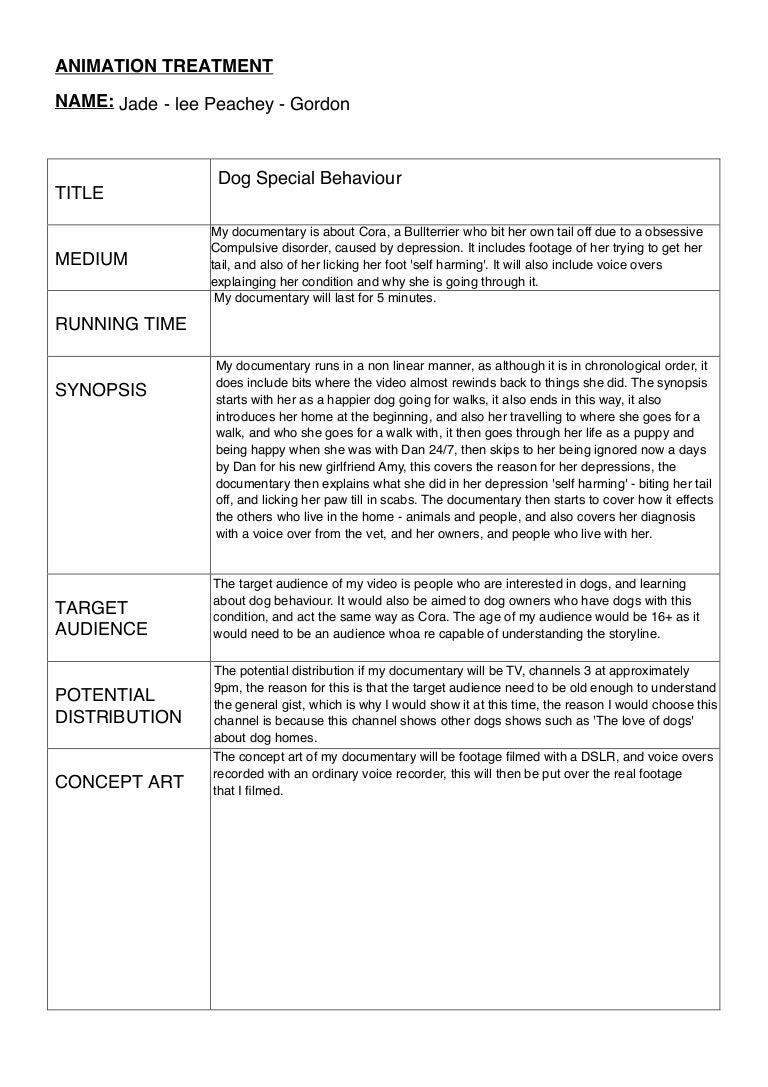 short film treatment example pdf