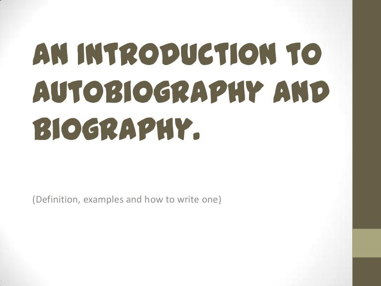 introduction in autobiography