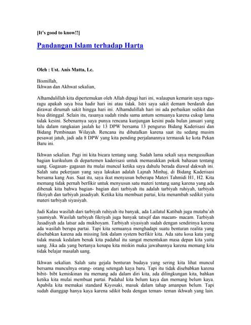 Anis Matta[Pandangan Islam Terhadap Harta]