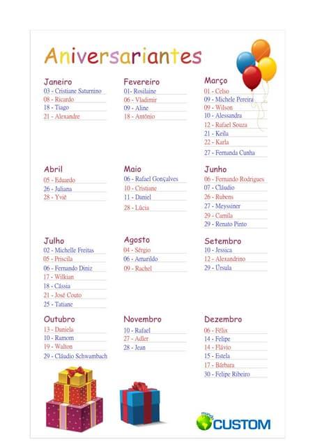 Modelo Para Lista De Aniversariantes
