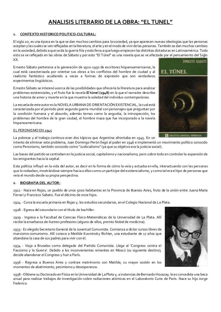 Análisis De La Obra Literaria El Túnel