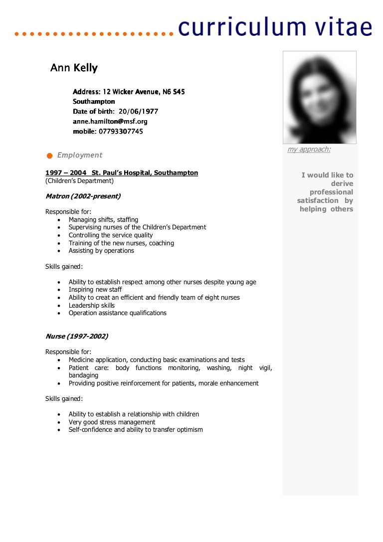 cv template  ann kelly