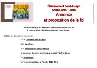 Annonce et proposition de la foi à saint joseph pour internet