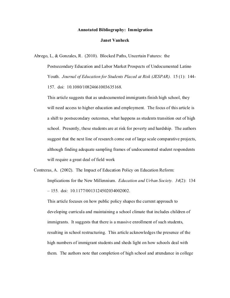 annotated bibliography on immigration