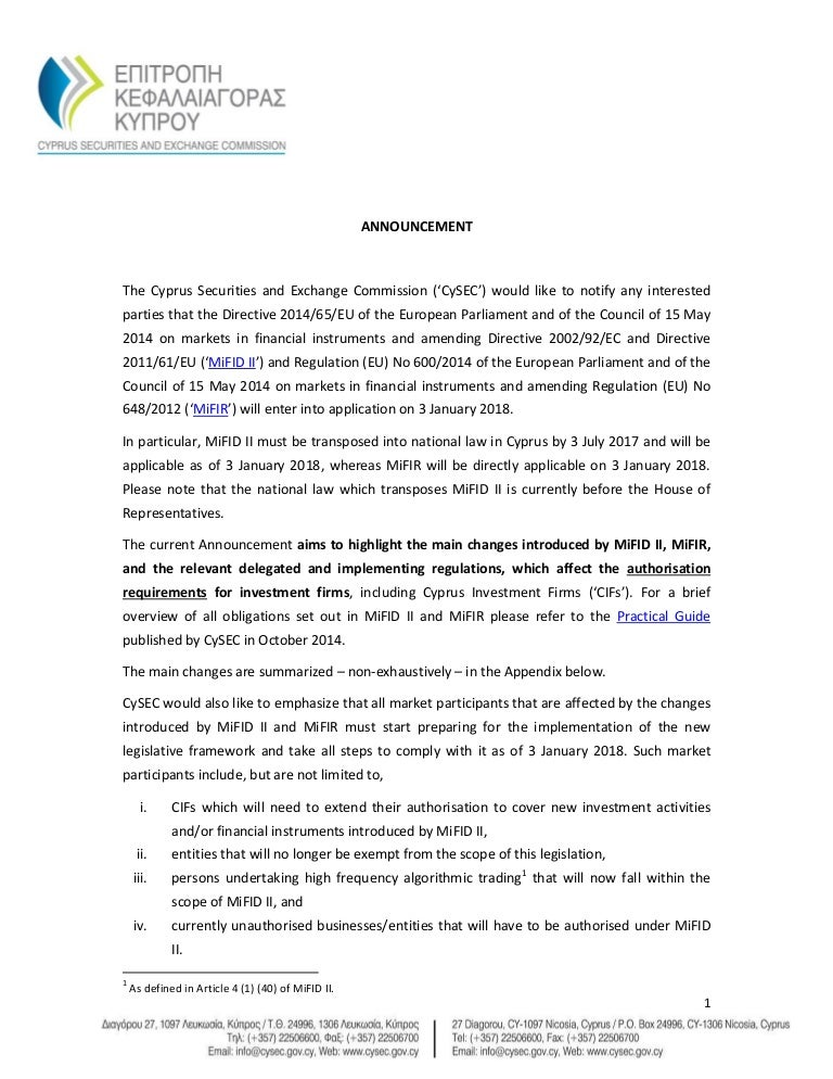 Announcement MiFID II Main Changes for authorisations