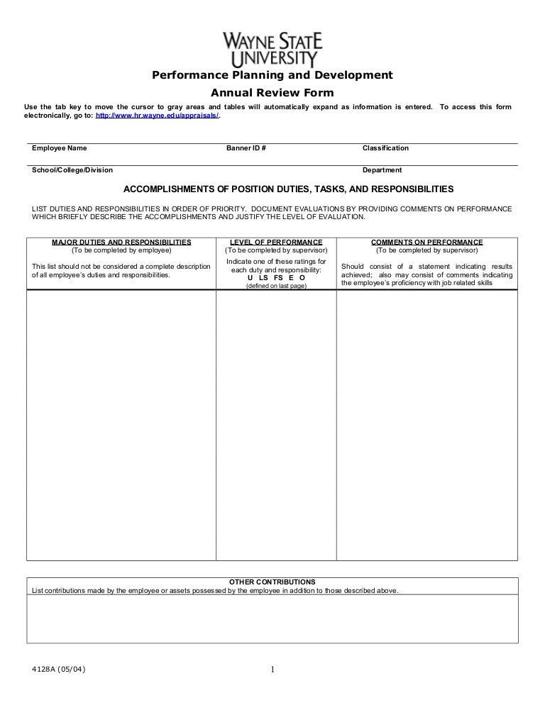 Annual appraisalform – Annual Appraisal Form
