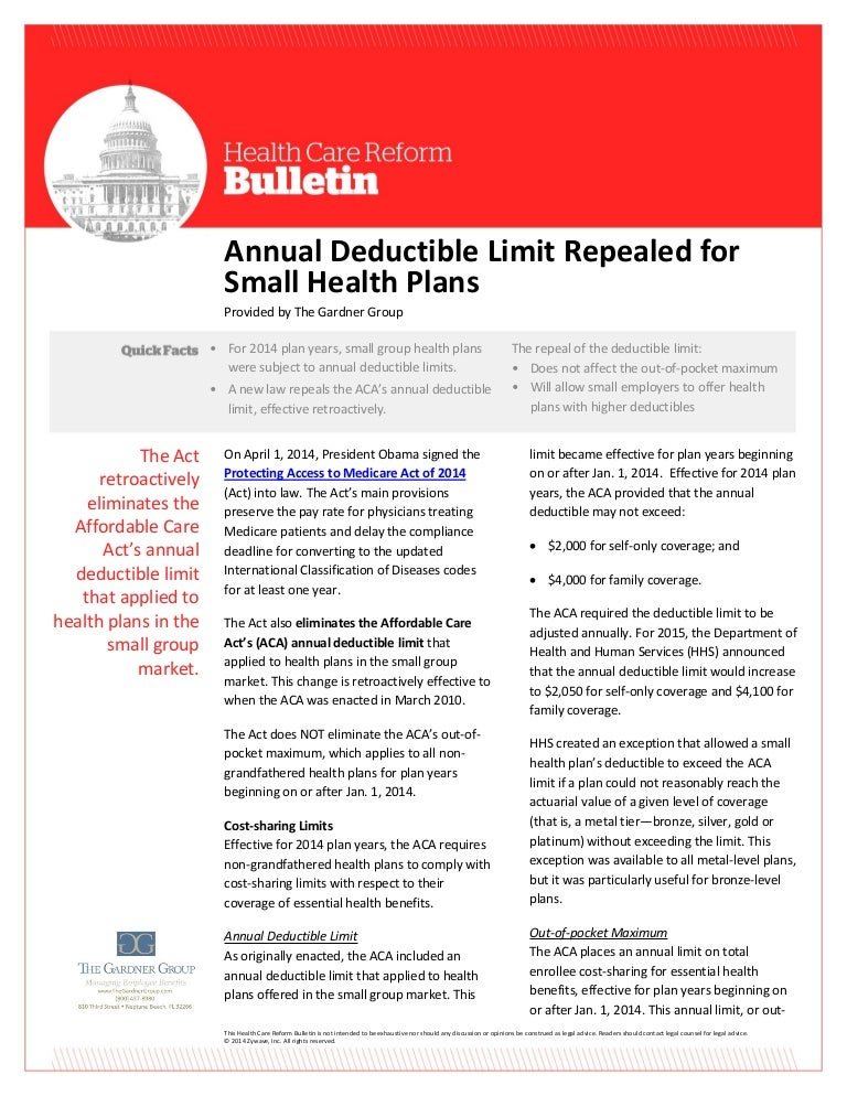 Annual Deductible Limit Repealed For Small Group Health Plans