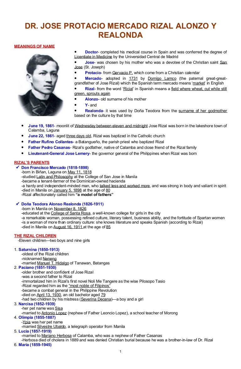An Outline of Jose Rizal\'s Life