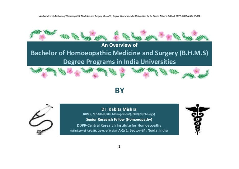 An Overview Of Bachelor Of Homoeopathic Medicine And Surgery Bhms