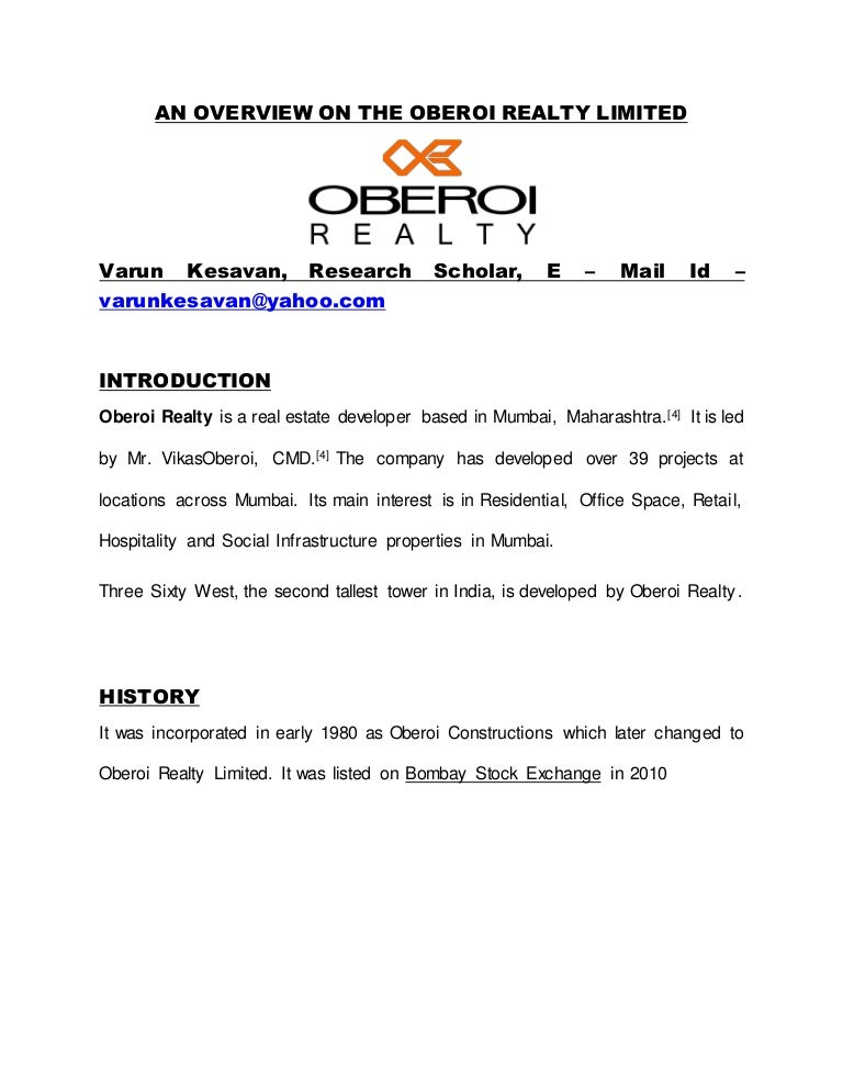 AN OVERVIEW ON THE OBEROI REALTY LIMITED