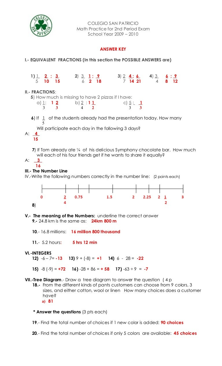 Answer Key For Math Practice (2 Period Exam)