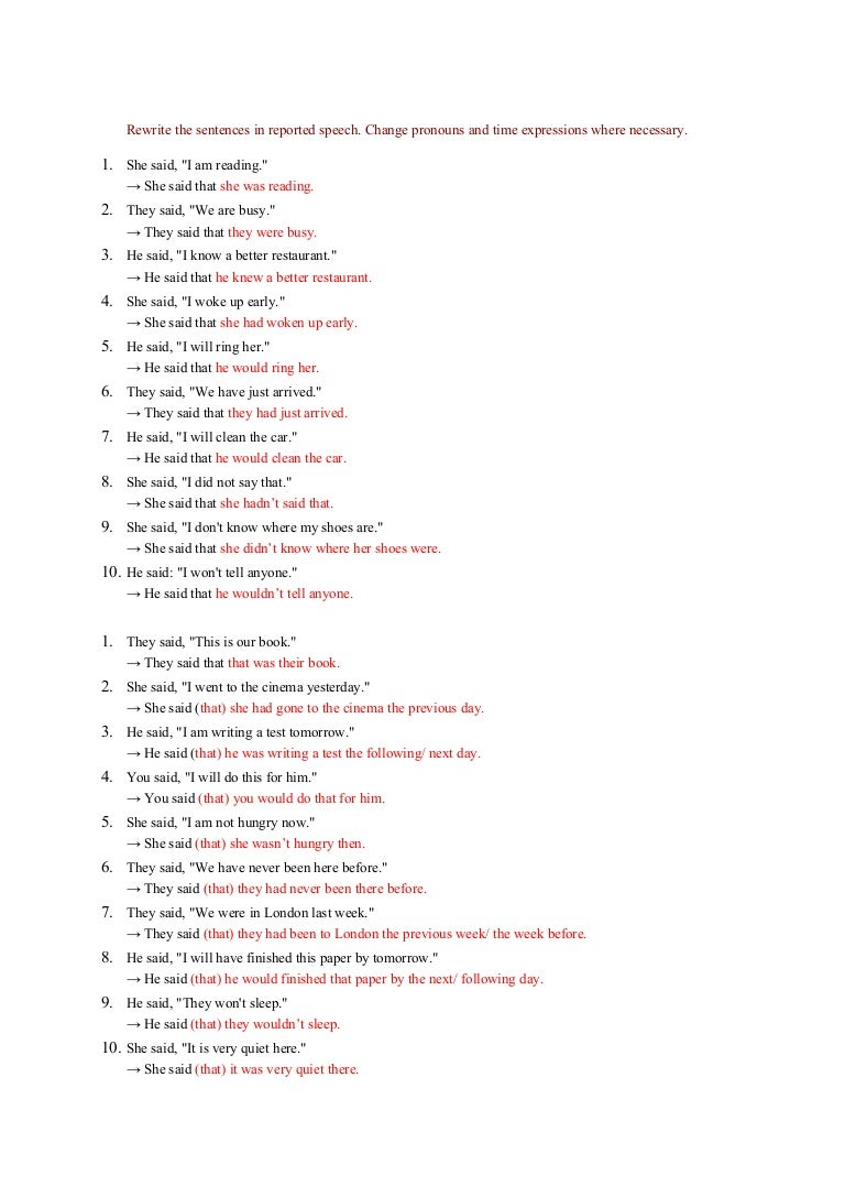 - Answer Key Reported Speech Exercises