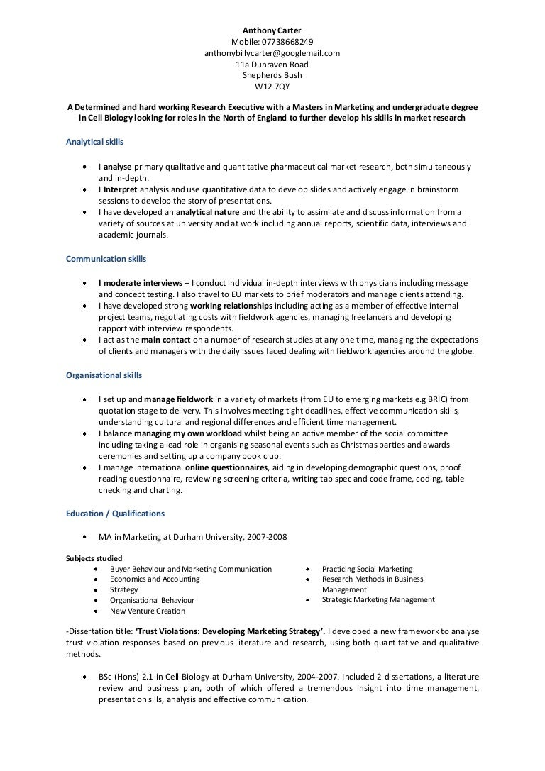 Anthony Carter Research Executive CV