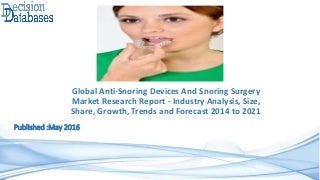 Anti-Snoring Devices And Snoring Surgery Market - Industry Analysis, Trends, Growth, Share and Forecasts, 2021
