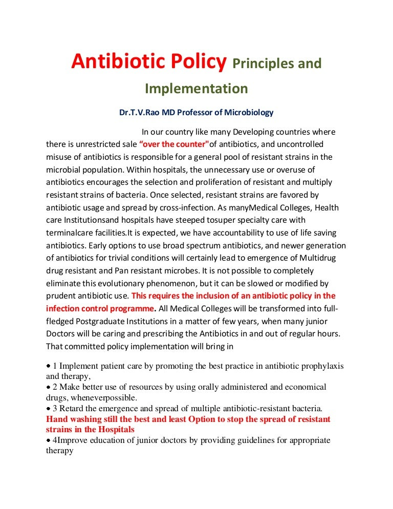 hospital antibiotic policy The [critical access] hospital has an antimicrobial stewardship tocols (for example, policies and procedures) note: examples of protocols are as follows:.