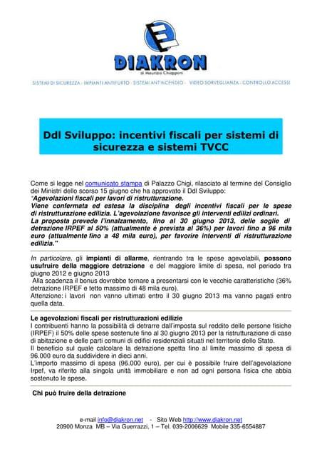 Antifurto Diakron detrazione irpef per impianti antifurto 2013. Monza Brianza