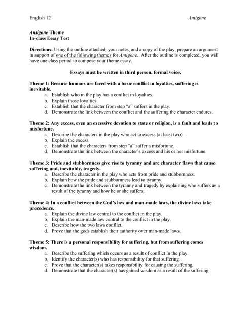 antigone theme essay