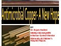 Antimicrobial copper a new hope  by Dr Anjum Hashmi MPH