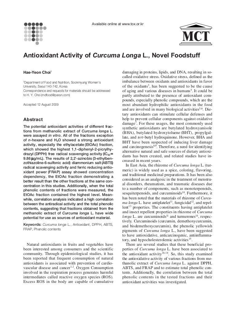 Antioxidant activity of curcuma longa l , novel foodstuff