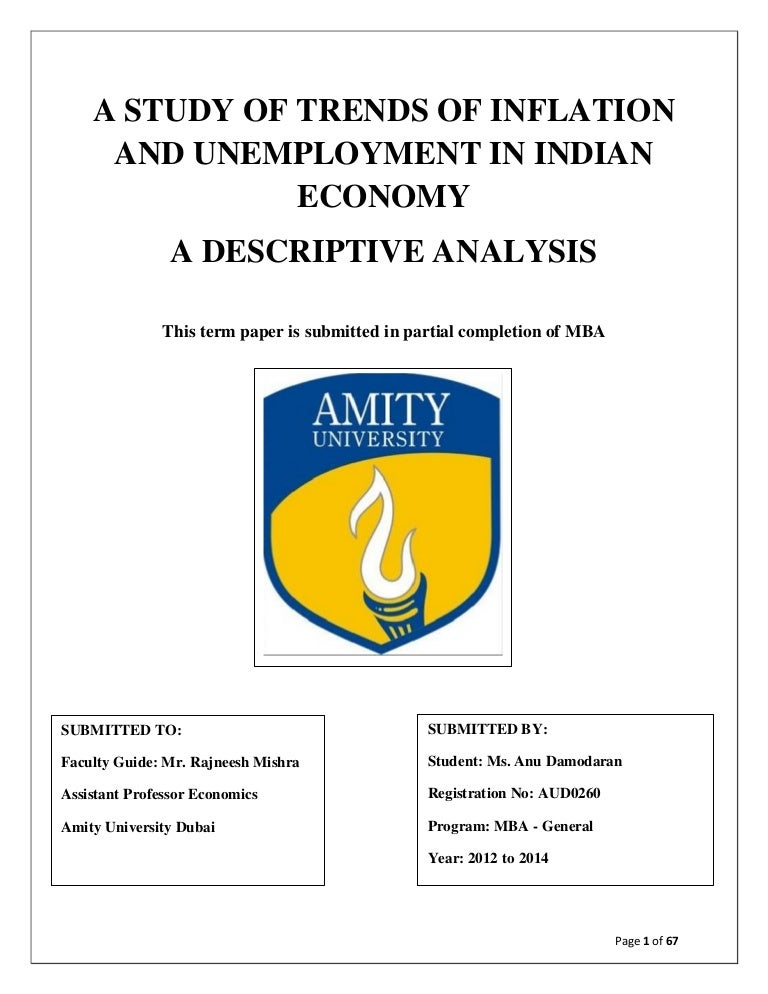 descriptive analysis of inflation and unemployment in n econonmy
