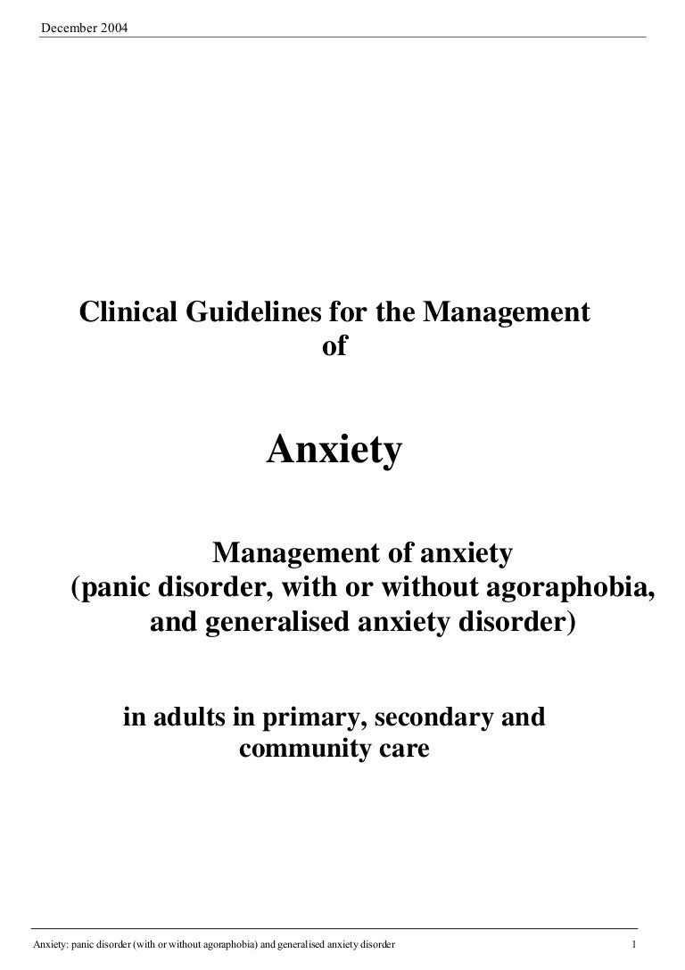 clinical guidelines for the management of anxiety rh slideshare net