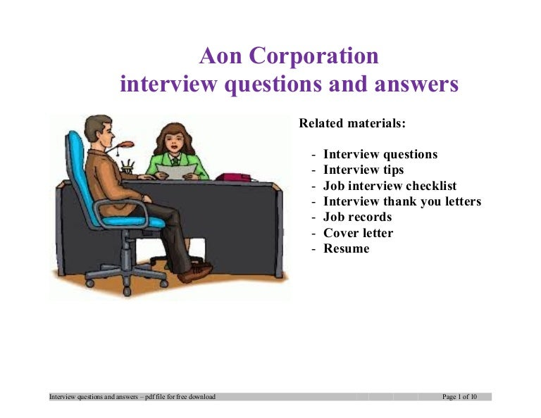 Aon corporation interview questions and answers