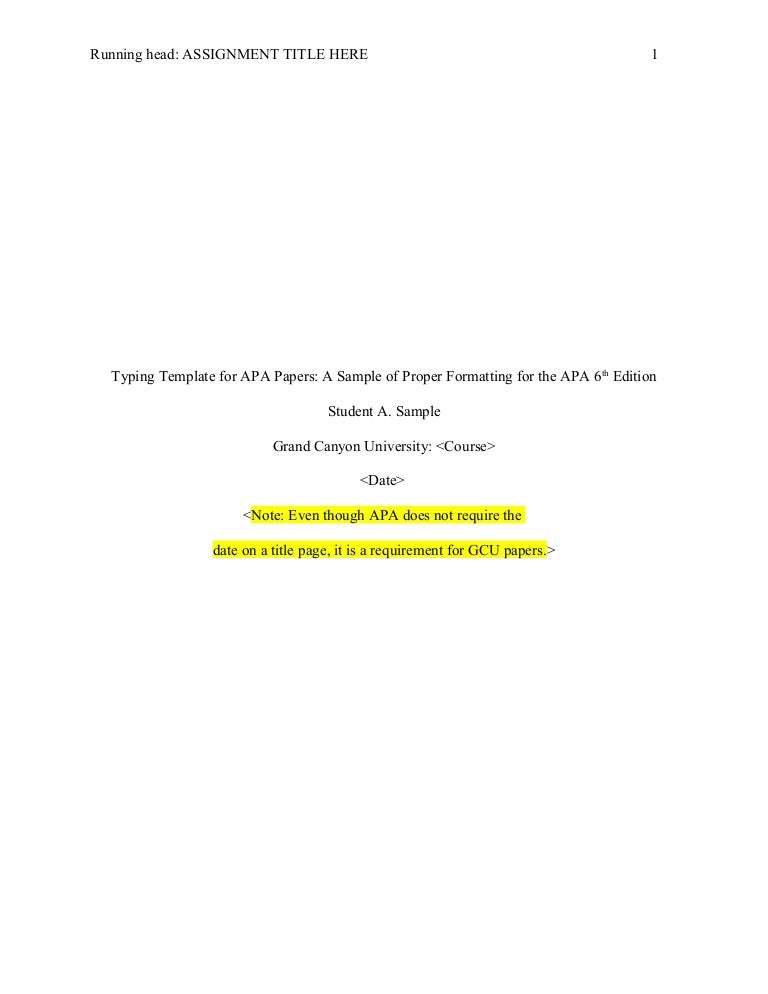 cover page term paper apa style