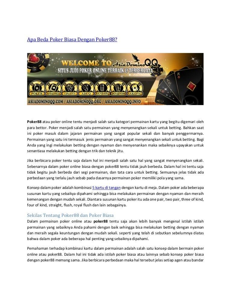 Apa Beda Poker Biasa Dengan Poker88