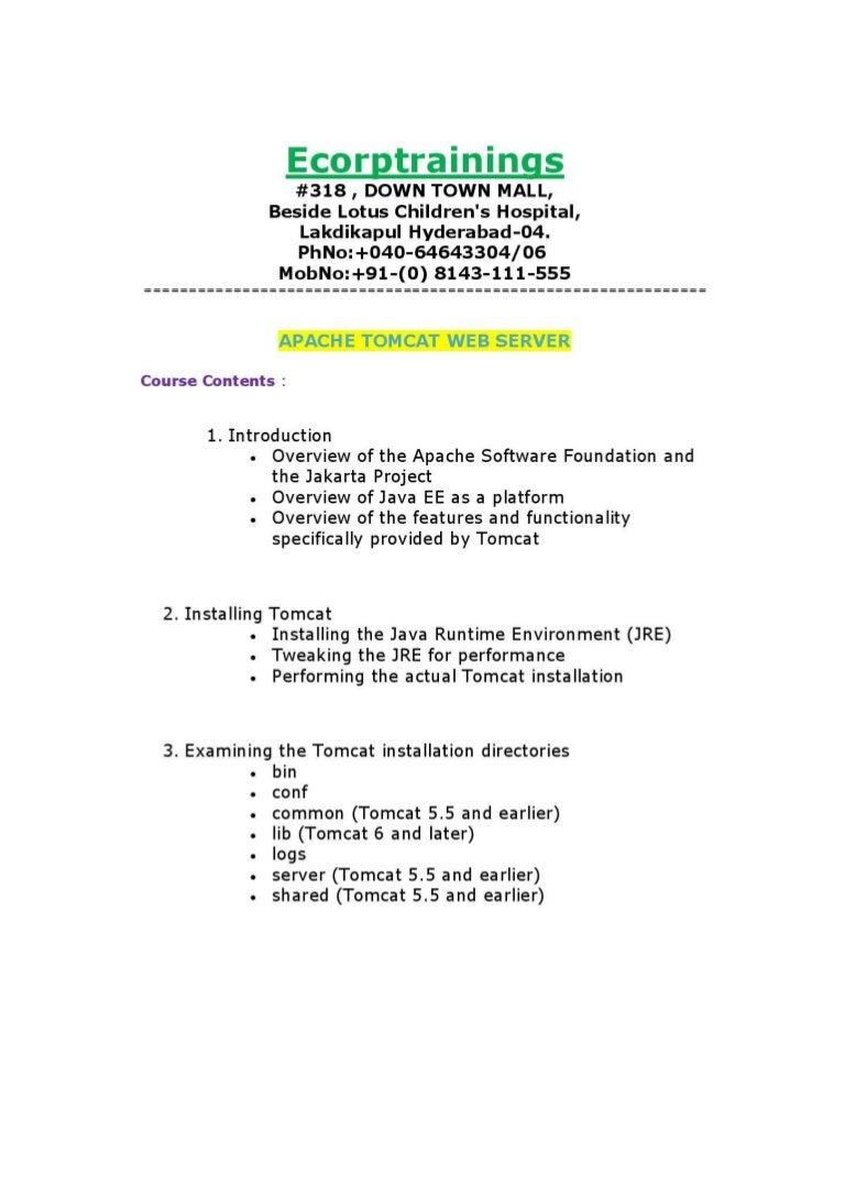 apache tomcat web server online training tutorials | best apache tomc…