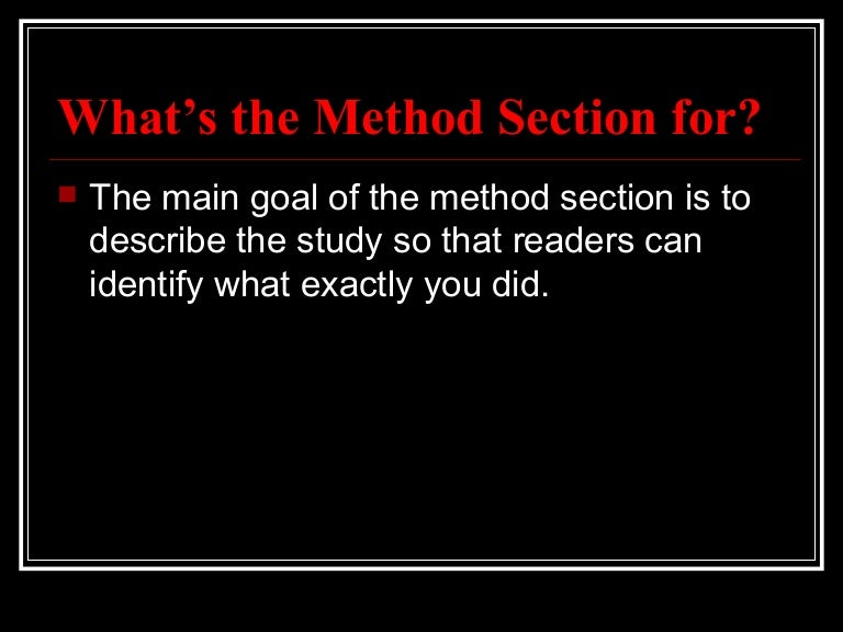 method section of a qualitative research paper Generally, 'methods' used in qualitative research are more flexible compared to the 'designs' or 'methods' used in quantitative research some argue that in qualitative research, the 'research design' sub-section is not essential.