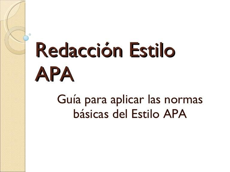 Redacción segun APA