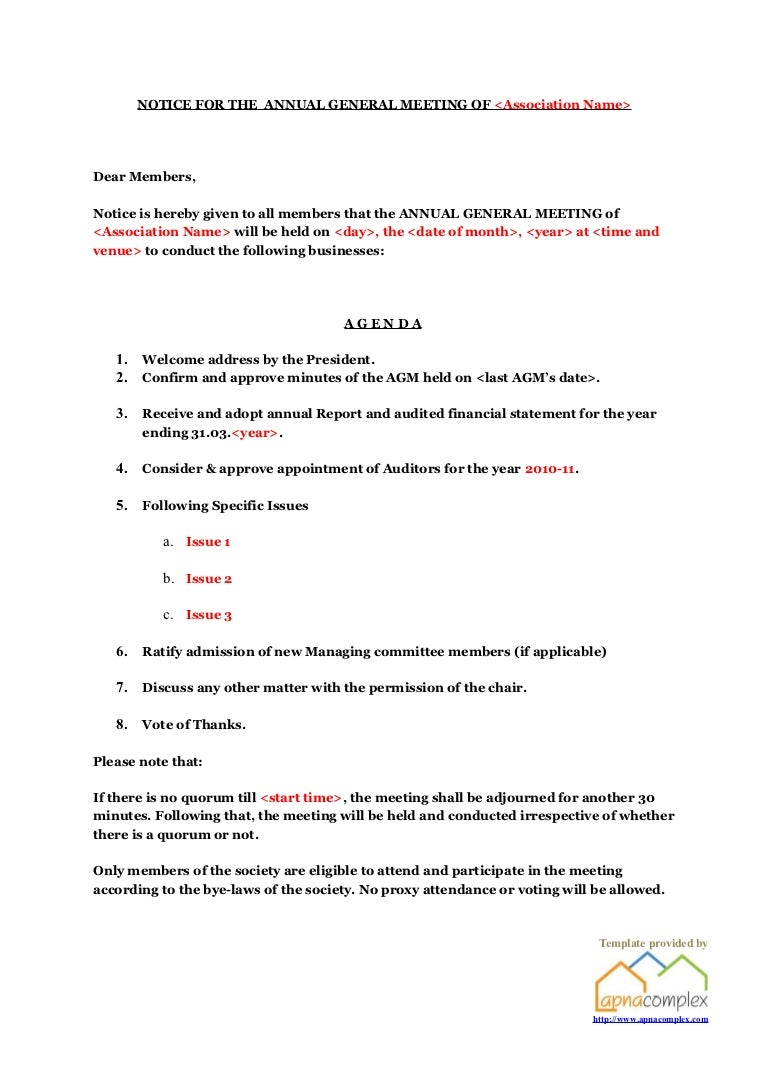 Apartment Association Agm Notice Template Provided By