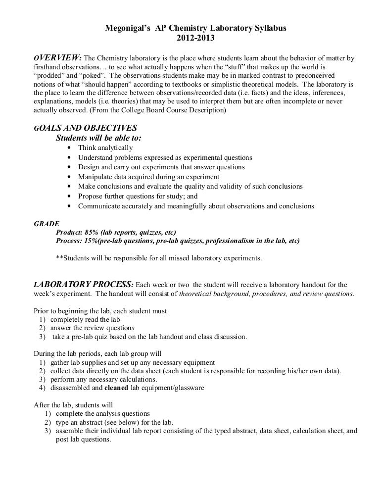 Ap Chem Laboratory Syllabus