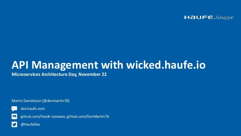 API Management with wicked haufe io