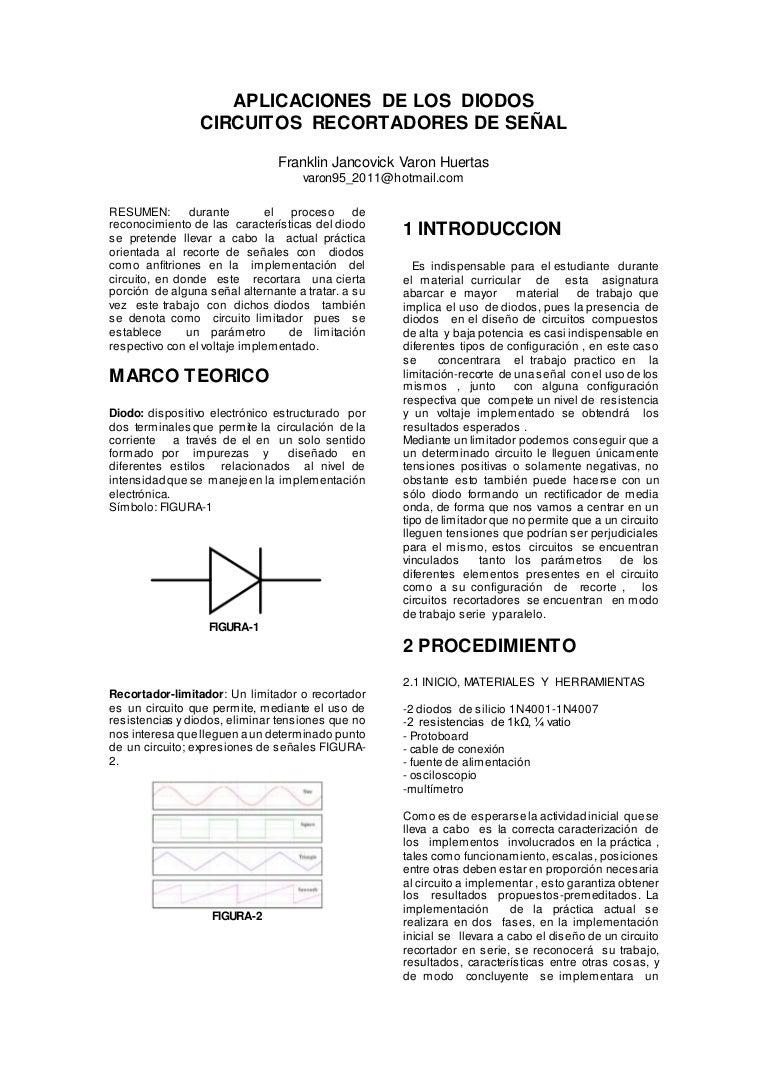 Circuito Recortador : Circuitos recortadores de onda docx