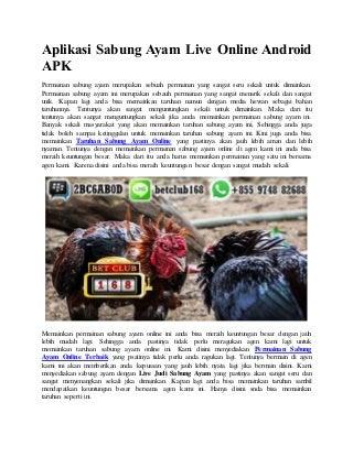 Aplikasi sabung ayam live online android apk