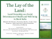 Policy: Land Ownership as a Social Determinant of Health and Well-being in Rural India