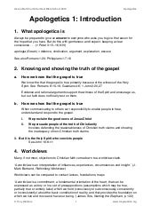 A1. Introduction to Apologetics (handout)