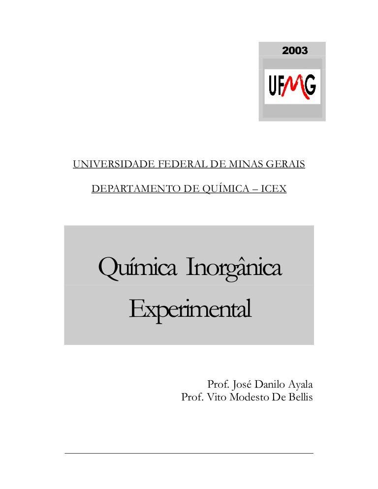 c3d676034 Apostila de química inorgânica experimental ufmg