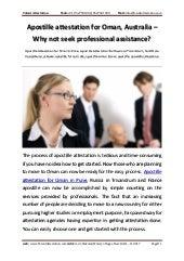 Apostille attestation Oman Australia not seek professional assistance