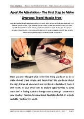 Apostille Attestation the First Step to Make Overseas Travel Hassle Free