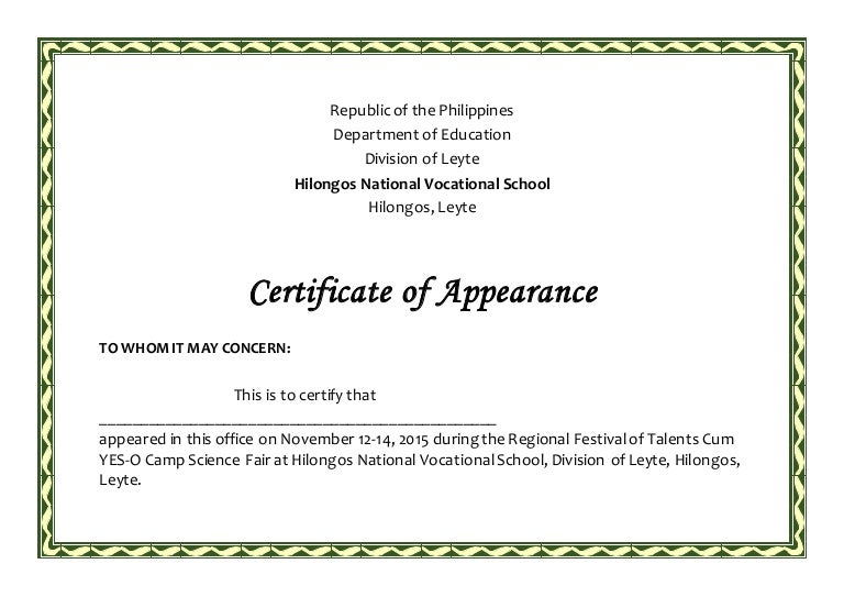 Certificate of appearance sample philippines choice image appearance yadclub choice image appearance yadclub new certificate appearance sample yadclub Images