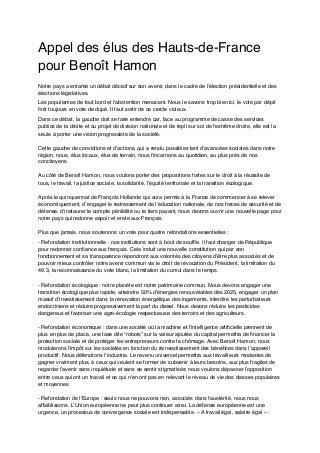 Appel des élus Hauts-de-France à voter Benoît Hamon