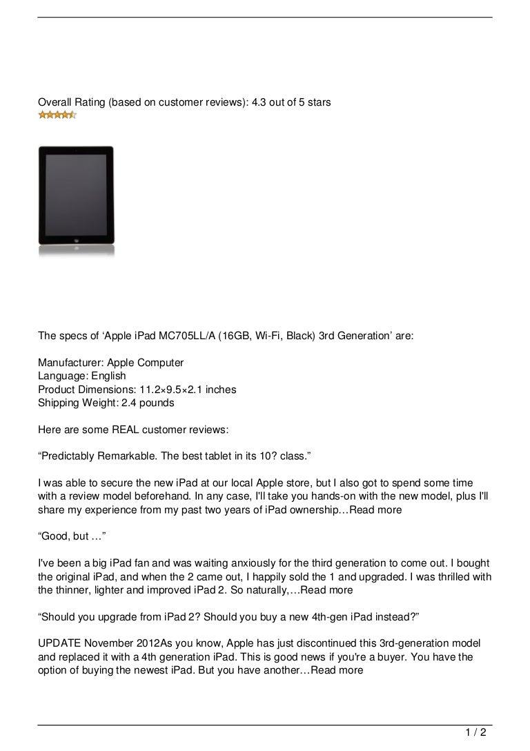 Apple iPad MC705LL/A (16GB, Wi-Fi, Black) 3rd Generation Review