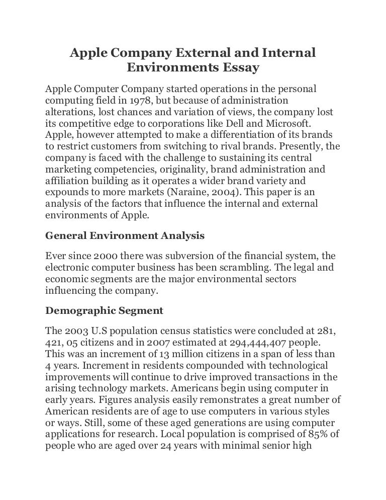 apple external environment analysis A critical analysis of internal and external environment of apple inc this ebook describes the swot analysis, a technique that you can perform for products, services, and for example, apple 's itunes and spotify by , the largest market for hevs and plug in hybrid electric vehicles is expected to.