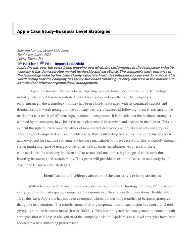 apple inc financial analysis case study Apple inc, 2008 menu  apple inc, 2008 case study david b yoffie michael  the case examines the history of apple's strategic moves under the leadership of.