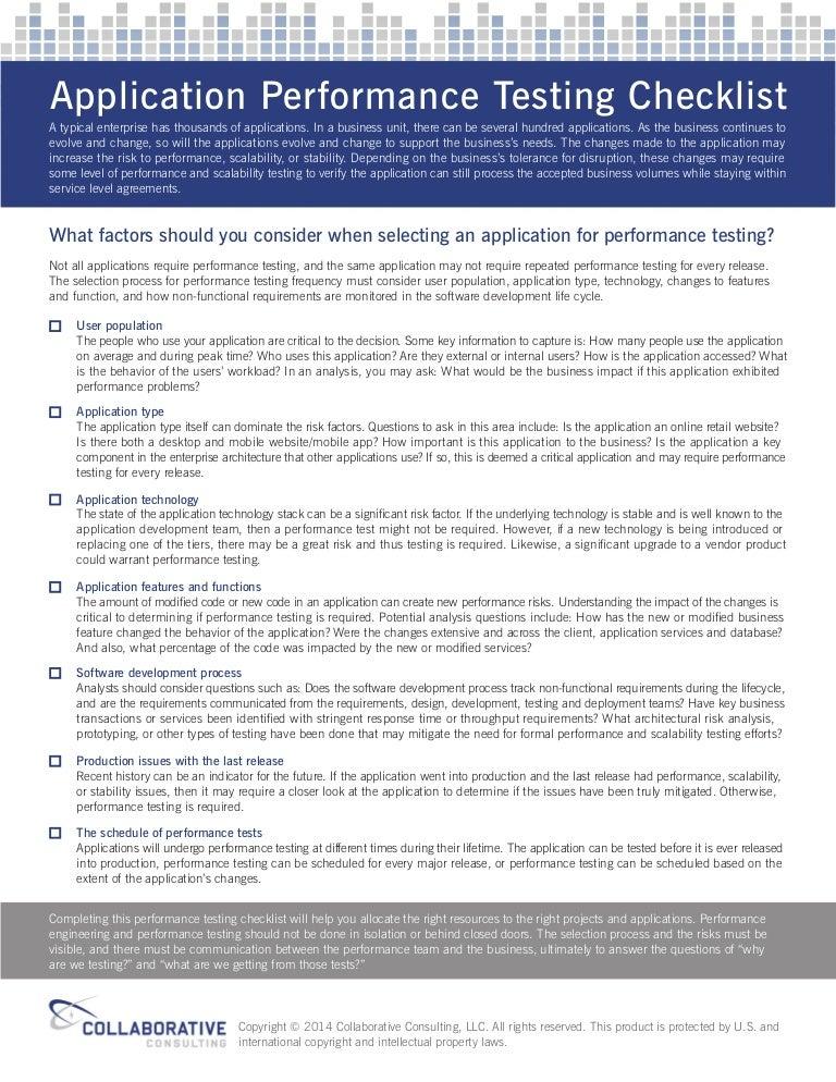 Application Performance Testing Checklist