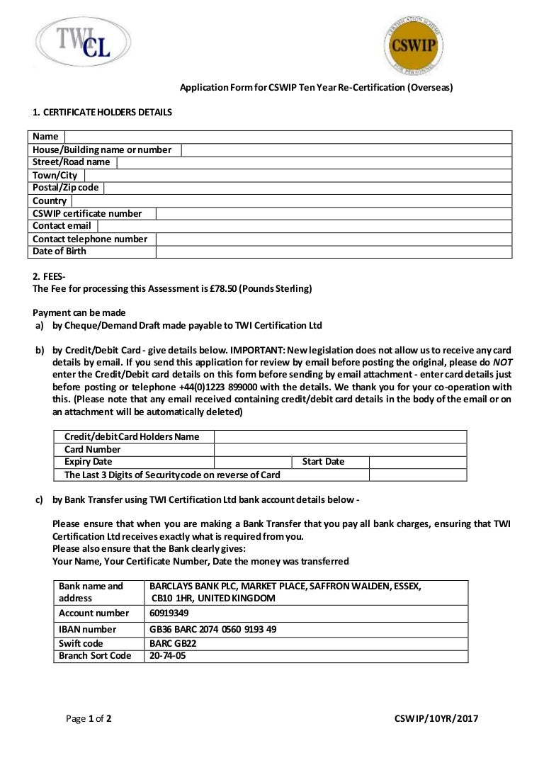 Application form for cswip 10 year re certification overseas with aiddatafo Image collections